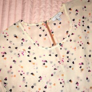 delia's zippered heart pattern blouse 🧡